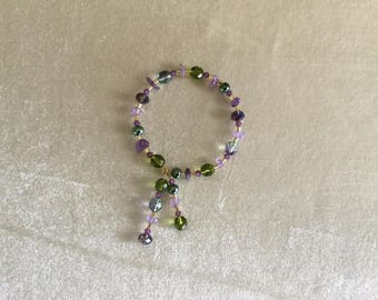 Amethyst Chips Olivine Beaded Memory Wire Bracelet with Dangles