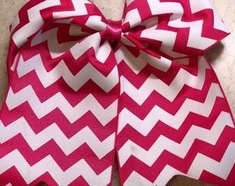 Pink & White Chevron Bow