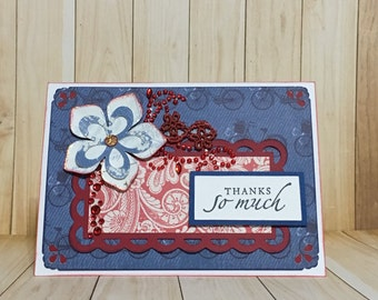 Thank you card.  All occasion card.  Blue.  Floral card. Handmade card. Greeting card.