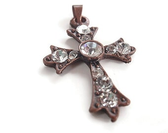 3 Antique Red Copper Cross Pendants, Jewelry Making Supply, Finding Supply,  Clear Rhinestones, bail
