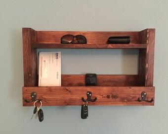 Rustic entryway shelf, key holder, mail organizer, cherry shelf with hooks, kitchen shelf, farmhouse shelf