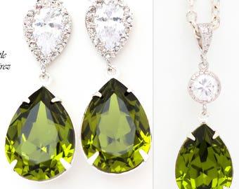 Green Jewelry Set Olive Green Earrings & Necklace Set Swarovski Crystal Jewelry Set Bridesmaid Jewelry Set Cubic Zirconia Jewellery OG31JS