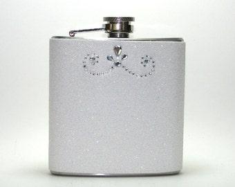White Rhinestone Sparkly Glitter 6 oz Size Stainless Steel Liquor Hip Flask Flasks Weddings Bridesmaids Gift Idea