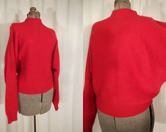 Vintage Batwing Sweater |  1980s High Collar Sweater | Angora Wool Red Pull Over
