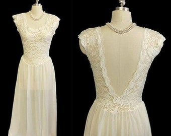 SALE Vintage Victorias Secret Bridal Spandex Lace Nightgown Beautiful Back in Candlelight spandex lace gown vintage nightgown designer gown