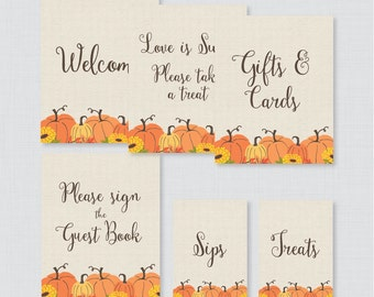 Pumpkin Bridal Shower Table Signs - Printable Rustic Pumpkin Fall Bridal Shower Decorations - Welcome Sign, Favors Sign, etc Autumn 0019