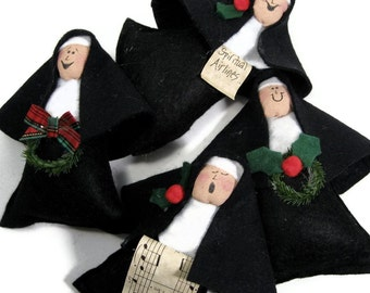 "Nun doll Christmas ornament,  religious Catholic humor, fun holiday decor, unique wine toppers, cute Catholic gift,  ""Little Sisters"""