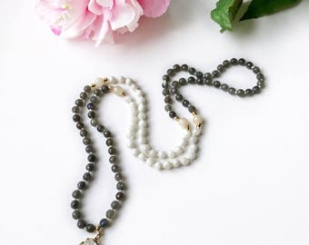 I Can Do This Mala, Labradorite Mala, Moonstone Mala, Mala Necklace, Mala Beads, Knotted Mala, Prayer Beads, Mala, Confidence Mala, LMAQ