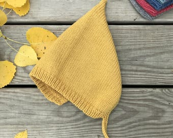 Baby Pixie Hat 12-24 months, Knit Baby Hat, Yellow Mustard Bonnet, Baby Elf Hat, Vintage Baby Bonnet, Baby Girl Bonnet, Baby Hat With Ties