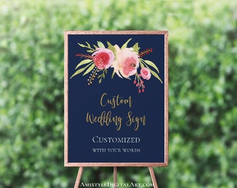 Customized Floral Wedding Sign, Navy Blue Printable Wedding Signs, Wedding Signage, Wedding Reception Sign, Floral Watercolor