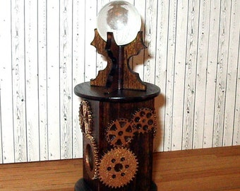 Steampunk Crystal Ball Stand, Dollhouse Miniature 1/12 Scale, Hand Made