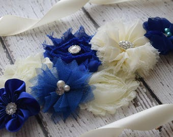 Royal navy and ivory sash ,flower Belt, maternity sash, wedding sash, flower girl sash, maternity sash belt