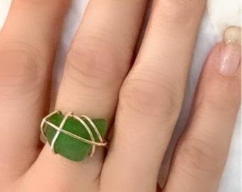 Emerald green Beach glass ring Copper wire wrapped sea glass seaglass beachglass Custom jewelry Custom made jewelry Wire wrapping Wire wrap