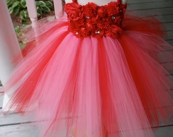 Girls Red and pink dress; Girl's Fancy Red dress; Red flower girl Dress; matching dress; Peppa pig dress; Girl's red Birthday dress