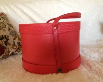 Vintage Everbest Red Wig Box Hat Box Suitcase Everbest Originals 1960 1950