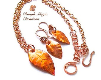 Copper Jewelry Set, Autumn Leaves Earrings & Necklace, Rustic Woodand Leaf Pendant on Chain, Fall Colors, Hammered Metal, Anniversary Gift