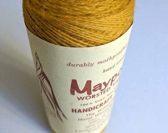 VINTAGE WOOL/Mustard Yellow Yarn Fiber Cone/Tapestry/Wall Hanging Kit/Weaving/Knitting/Crochet/Fiber Arts/Maypole/100% Virgin Wool/2ply Wool
