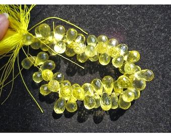 Lemon Quartz Beads/ Briolette Beads/ Faceted Gemstones/ Tear Drop beads/ Faceted Gemstones/ 8x11-9x14 mm Each, 16 Pieces
