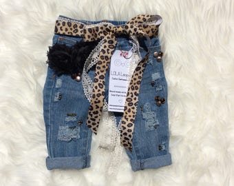 Lala Girl Distressed Jeans with bling, Ripped Leopard Jeans, Distressed Skinnies, Toddler Jeans,  Baby distressed Jeans, Ripped Jeans