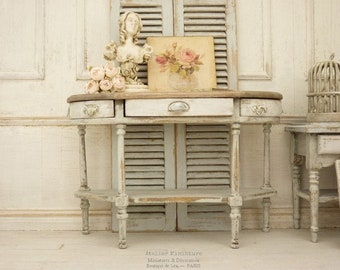 Wooden console, Miniature furniture, Pink Shabby, Gustavian style, French dollhouse, 1:12th scale