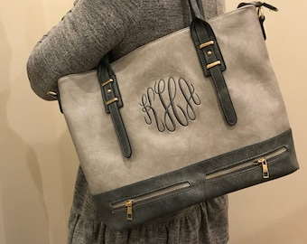 Ladies Gray Personalized Handbag - Gray Monogram Tote Bag - Shoulder Bag - Leather Tote