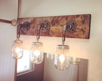 Bathroom Light, Bathroom Decor, Light For Bathroom, Vanity, Mason Jar Light,