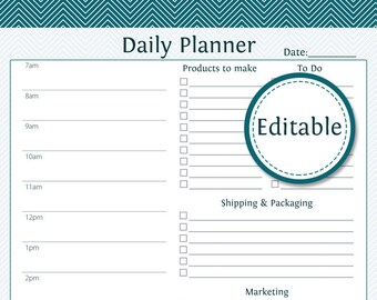 Daily Business Planner - Fillable - Business Planner - Printable Organizational PDF - Instant Download