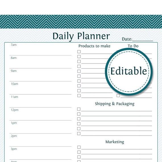 work day planner template