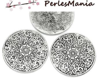 2 pendants charms LOCKET flower S1127447 antique silver color metal