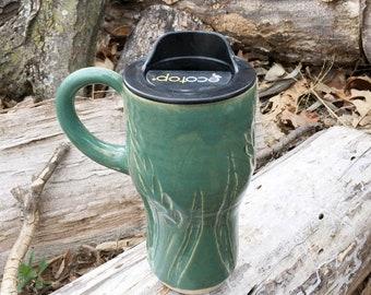 New! Travel Mug, Lidded Cup, Wheat, Spring Green, Pottery Handmade by Daisy Friesen