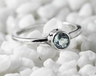 Custom Gemstone Ring Sterling Silver Blue Topaz Womens Stacking Ring