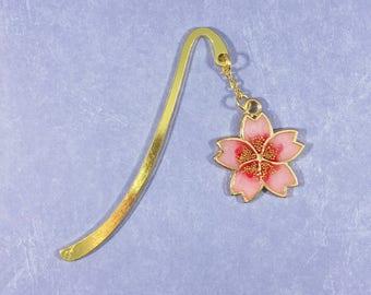 Pink Sakura Cherry Blossom Charm Bookmark