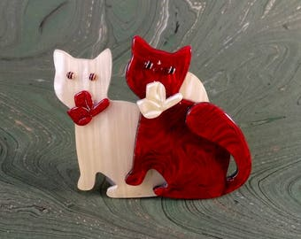 Vintage Lea Stein Two Cats Brooch/Pin