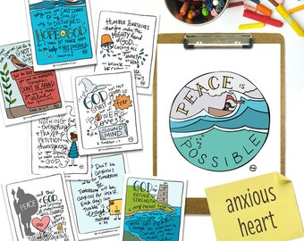 """PRINTABLE Hand-drawn Anxious Heart Bible Verse Scripture Card Set of 8 + Mini Coloring Pages + """"Peace is Possible"""" 5x7 and 8x10 Art Print"""