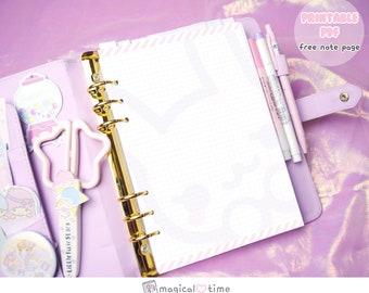 Kawaii a5 printable note - cute bunny - squared refill - free notes refill - Dokibook Kikki K Filofax printable notepaper - cute planner
