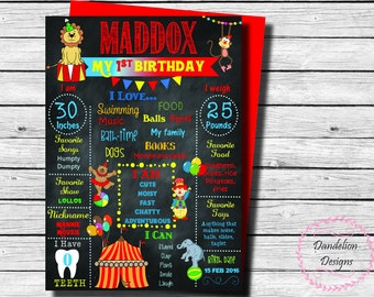 Circus carnival 1st Birthday chalkboard, circus chalkboard birthday Poster, carnival birthday chalkboard, circus birthday, 1st Birthday Sign