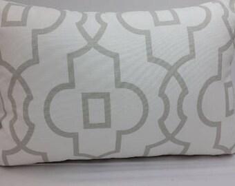 "Bordeaux trellis, geometric, toss pillow, 18 x 12"" grey and white, RTS"