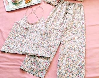 JOANNA Handmade Liberty of London Print Women's Pyjama Set Camisole, sleepmask Tana Lawn