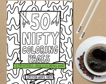 Printable Coloring Book, Coloring Pages, PDF Instant Download, Adult Coloring Pages, Digital DIY Wall Art Hand Drawn,Gifts for Her,Zentangle
