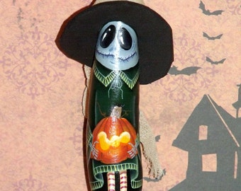 Hand Painted Halloween Witch Ghoul Ornament - Original Design - Home Decor - Halloween Decor - Witch - ghoul - Holiday Decor - Gourd-Gourds