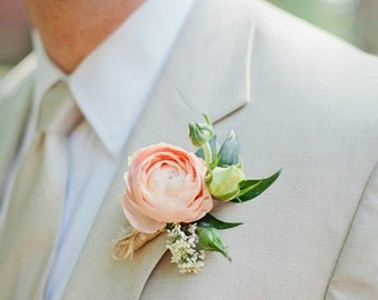 peach peony boutonniere,groom accessories