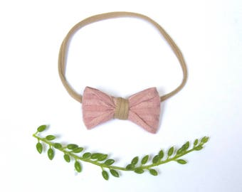 Dainty Pink Knit Bow Headband