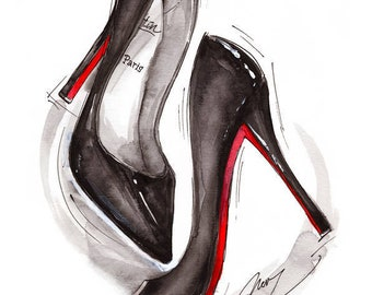 Dancing shoes Louboutin Archival Art Print Watercolor fashion Illustration Sexy Chic High heels Trendy Wall Art Home decor Style Black shoes