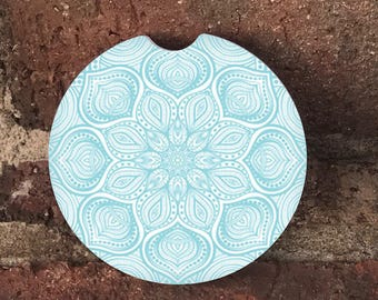 Custom Light Blue Mandala Sandstone Auto Cup Holder Coasters (set of 2), Absorbent Sandstone, Personalized, Custom Car Coasters (set of 2)