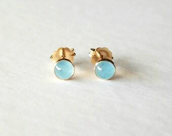 Gold Aquamarine Earrings