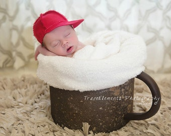 NEW red newborn boy hat, newborn baseball cap  newborn photo prop soft red denim   baby boy hat
