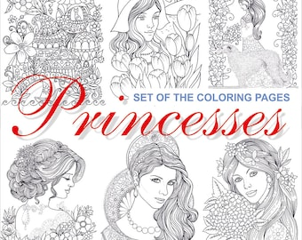 "Printable PDF Coloring Pages Set ""Princesses"" (6 pages) Instant digital download for coloring and relaxation princesses, castles, flowers"