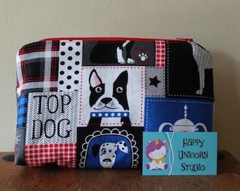Toiletry Bag// Make-Up Bag// Cosmetic Bag// Fabric Toiletry Bag// Fabric Make-Up Bag// Handcrafted// Dog// Dogs// Dog Breeds// Puppies