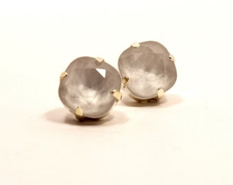 Powder Gray Crystal Stud Earrings Classic Sparkling Grey Shade Solitaire Swarovski 10mm White Sterling Silver Stud Post Women's Jewelry