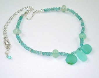 Chalcedony Apatite Necklace with Aqua Chalcedony Briolettes and Apatite ON SALE was 79.00